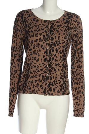 Minus Cardigan in maglia marrone-nero Stampa leopardata stile casual