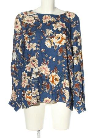Minus Tunikabluse Bluse 40 l floral blau weiß braun Blumenmuster Casual-Look