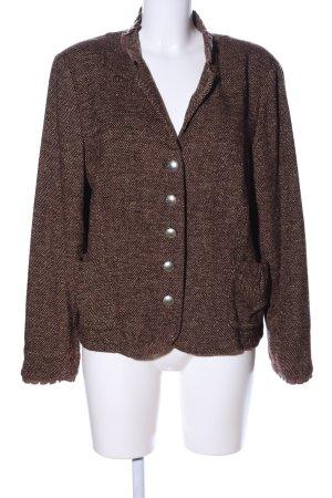 Minx by Eva Lutz Knitted Blazer brown-cream weave pattern casual look