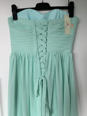 Minz grünes Abendkleid Pastell mit silbernen Aufnähern