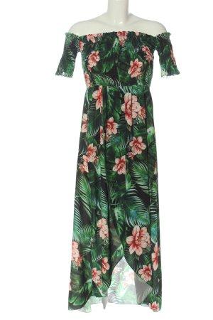 MIRA & CO Robe bas asymétrique vert-rose imprimé allover style décontracté