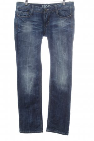 Miracle Of Denim Straight-Leg Jeans dunkelblau-weiß Casual-Look