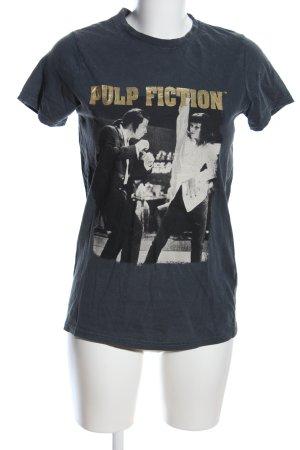 Print-Shirt blau-weiß Motivdruck Casual-Look