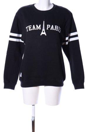 Sweatshirt schwarz-weiß Schriftzug gedruckt Casual-Look