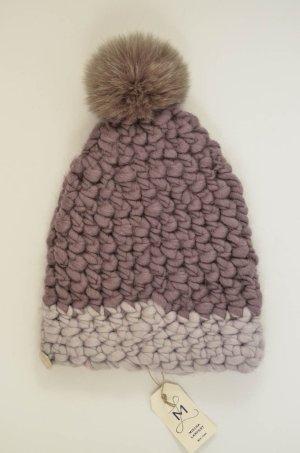 Bonnet à pompon multicolore laine