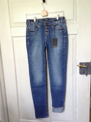 Mishumo Hoge taille jeans staalblauw-blauw Katoen