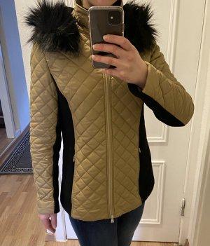 Mishumo Winterjacke Steppjacke Übergangsjacke mit Wolle und Kaschmir Gold Schwarz 36