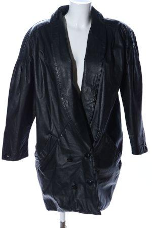 Miss Astor Cappotto in pelle nero stile stravagante