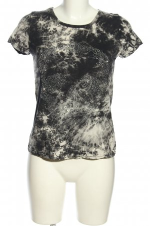 Miss charm Cut Out Top black-white allover print casual look