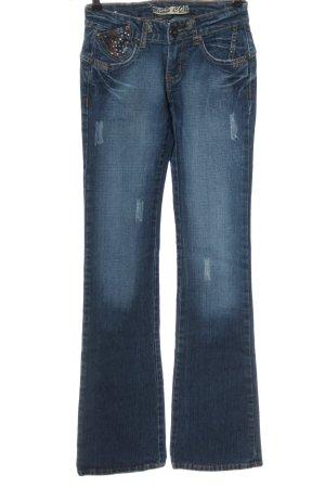 Miss Cocoa Jeansowe spodnie dzwony niebieski W stylu casual