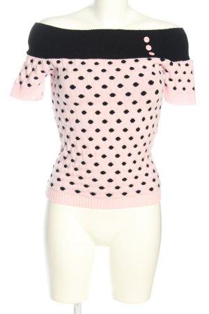 Miss Fortune Koszulka z dzianiny różowy-czarny Wzór w kropki W stylu casual