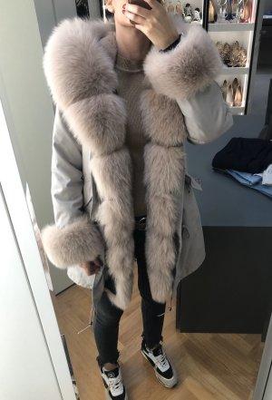 Miss & Furs Abrigo de piel gris claro
