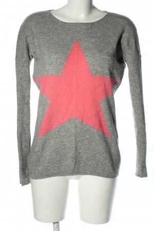 miss goodlife Cashmere Jumper light grey-pink themed print casual look