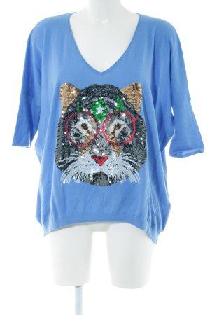miss goodlife Gebreid shirt blauw prints met een thema casual uitstraling