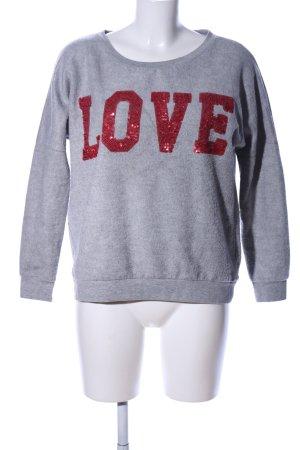 miss goodlife Sweatshirt hellgrau-rot meliert Casual-Look