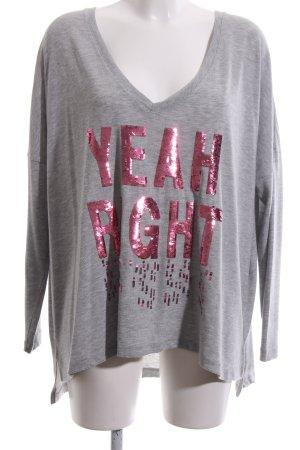 miss goodlife V-Ausschnitt-Pullover hellgrau-pink meliert Casual-Look