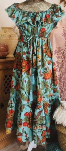 Miss June Robe Hippie turquoise coton
