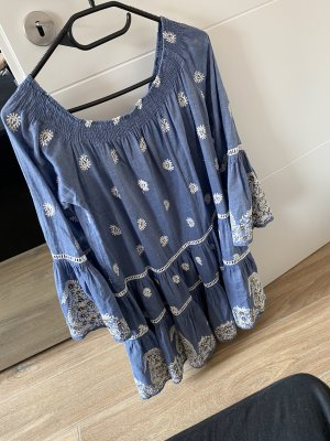 Miss June Sukienka z dekoltem typu bandeau biały-niebieski