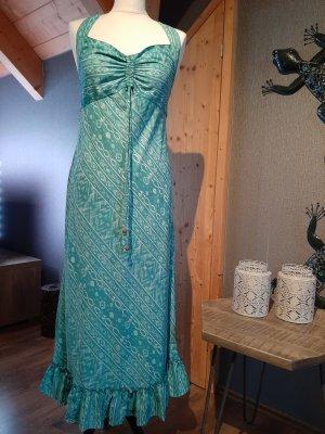 Robe longue turquoise-blanc viscose