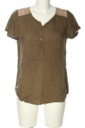 Miss Li Blusa de manga corta marrón-blanco puro look casual