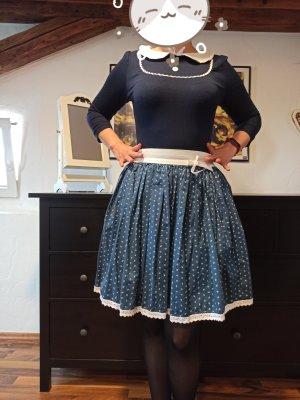 Miss Lovett Jupe corolle bleu foncé