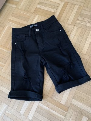 Miss RJ Jeans Shorts Bermuda - Black Schwarz - Größe 34 XS - Destroyed! MEGA
