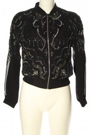 Miss Selfridge Blouson schwarz-silberfarben abstraktes Muster Casual-Look