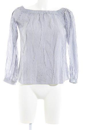 Miss Selfridge Carmen-Bluse weiß-graublau Streifenmuster