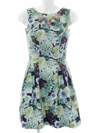 Miss Selfridge Cocktailkleid blassgrün-lila Blumenmuster Party-Look