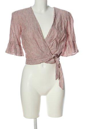 Miss Selfridge Crop-top blanc-rose motif rayé style décontracté