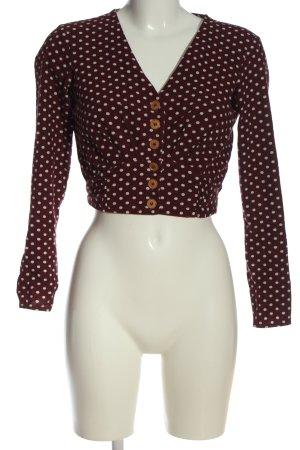 Miss Selfridge Cropped Top schwarz-weiß Punktemuster Casual-Look