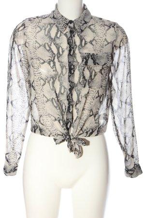 Miss Selfridge Hemd-Bluse wollweiß-schwarz Allover-Druck Elegant