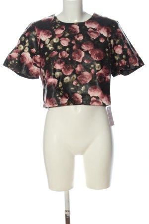Miss Selfridge Kurzarm-Bluse schwarz-pink Allover-Druck Casual-Look