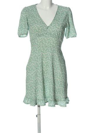 Miss Selfridge Kurzarmkleid grün-weiß Allover-Druck Casual-Look