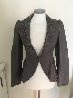 Miss Selfridge Lederjacke Jacke Leder grau Used Look Nieten 38 M