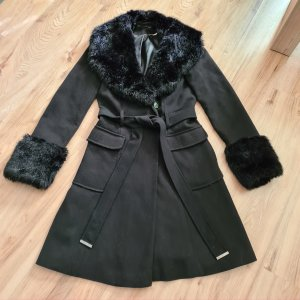 miss selfridge Mantel wolllook  34 xs mit Fake fur Kunstpelz schwarz
