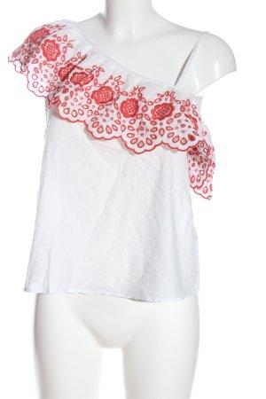 Miss Selfridge One-Shoulder-Top weiß-rot abstraktes Muster Elegant