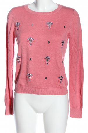 Miss Selfridge Rundhalspullover pink Zopfmuster Casual-Look