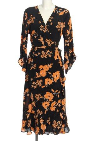 Miss Selfridge Robe portefeuille noir-orange clair motif de fleur