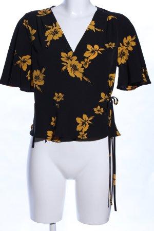 Miss Selfridge Camisa cruzada negro-amarillo pálido look casual