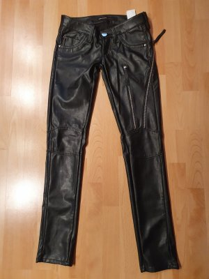 Miss Sixty Leather Trousers black-silver-colored