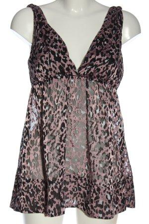 Miss Sixty Blusa sin mangas rosa-negro estampado de animales look casual