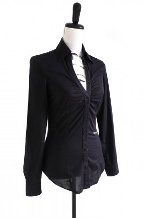 MISS SIXTY Bluse Hemd Slim Fit langarm schwarz – XS
