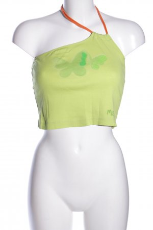 Miss Sixty Cropped Top blassgelb-grün Motivdruck extravaganter Stil