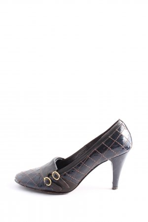 Miss Sixty High Heels schwarz-bronzefarben Steppmuster Business-Look