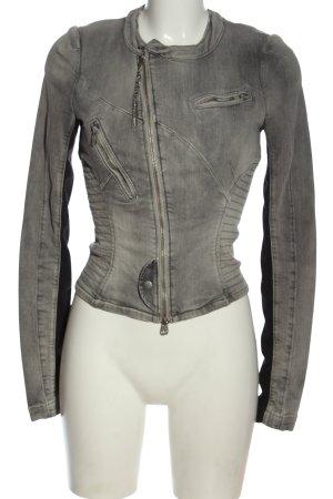 Miss Sixty Veste en jean gris clair-noir motif rayé style décontracté