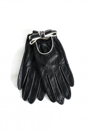 Miss Sixty Leather Gloves black-natural white