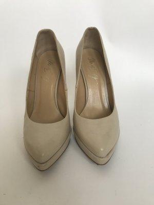 Miss Sixty Leder-High-Heels Cremfarben