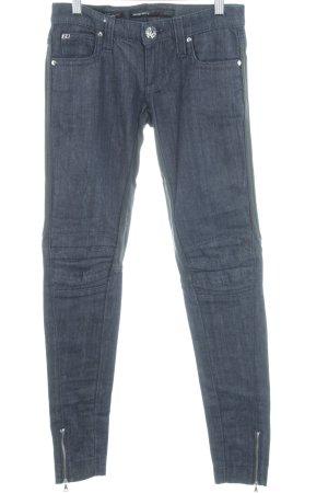 Miss Sixty Röhrenjeans dunkelblau-schwarz Mustermix Textil-Applikation