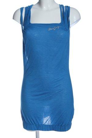 Miss Sixty Schlupf-Bluse blau Schriftzug gedruckt Casual-Look